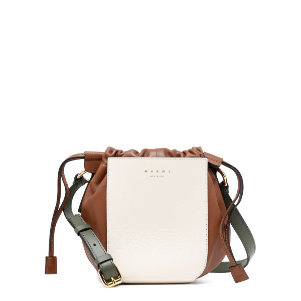Gusset three-color shoulder bag
