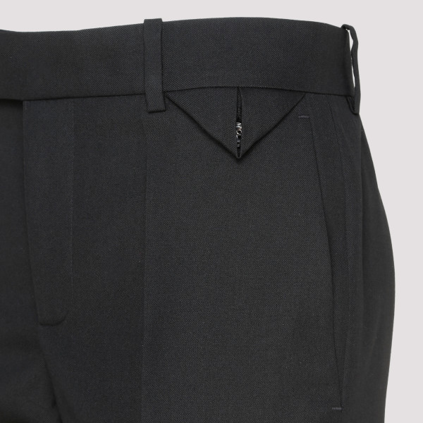 Black wool gabardine pants