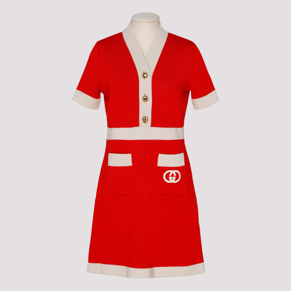 Red knitted wool dress