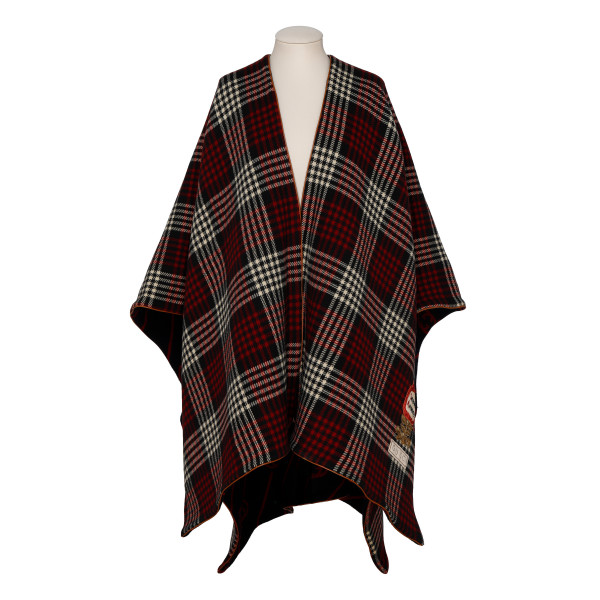 Plaid and GG reversible wool cape