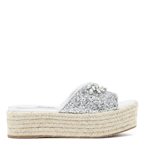 Glitter espadrille wedge sandals