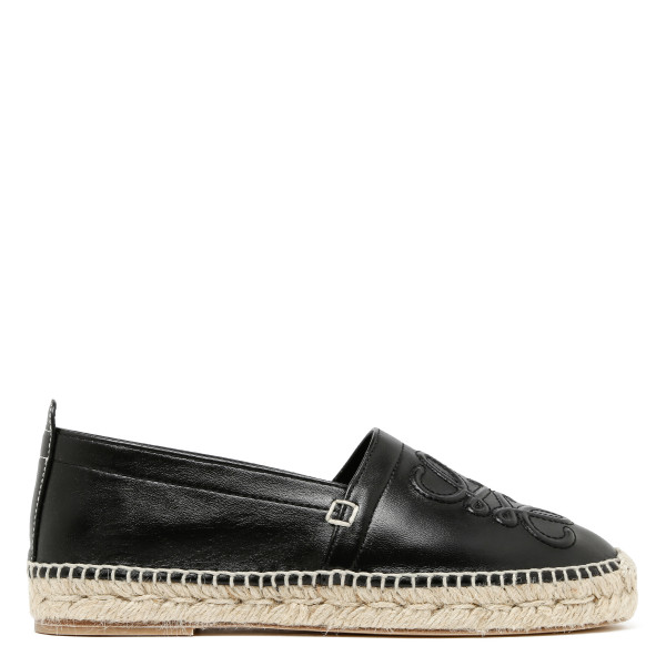 Black leather anagram espadrilles