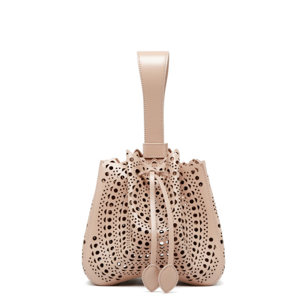 Rose Marie powder pink laser-cut leather bucket bag