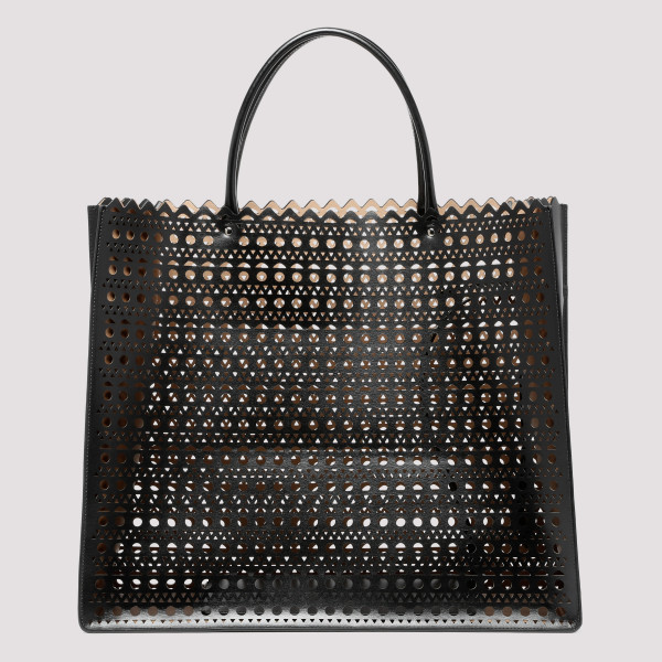 Black laser-cut leather tote