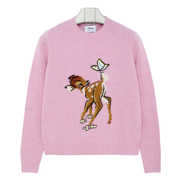Pink wool sweater with Bambi intarsia