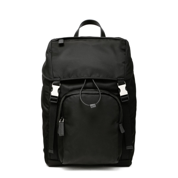 Black nylon and saffiano backpack