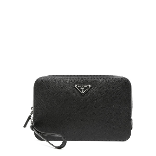 Black saffiano zipped pouch