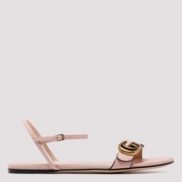 Double G pink leather sandals