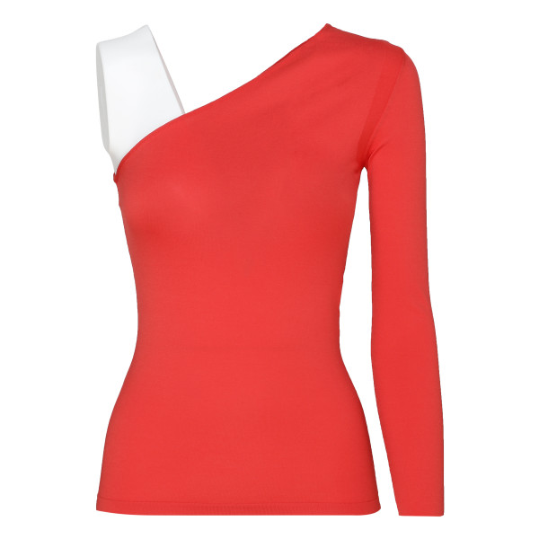 One-shoulder red top