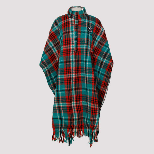 Vintage plaid poncho coat