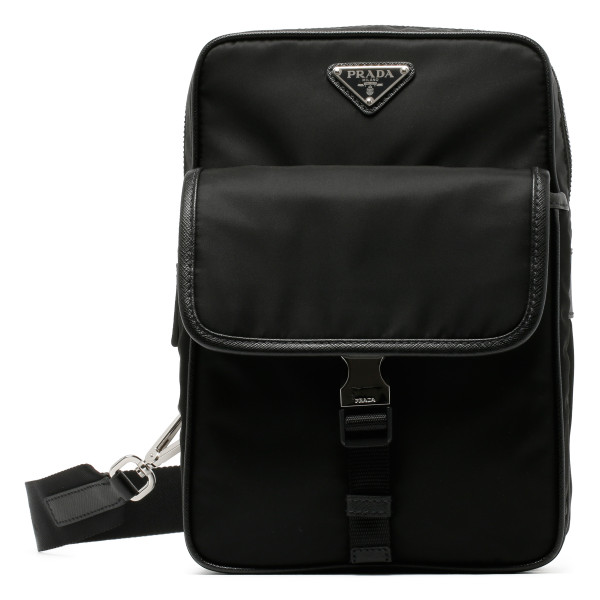 Black nylon one shoulder backpack