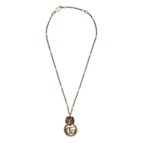 Lion head necklace with Double G