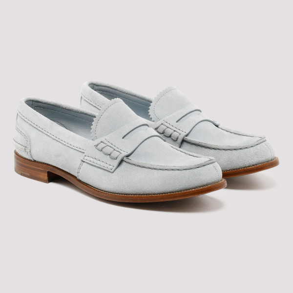 Pembrey ice blue suede loafers