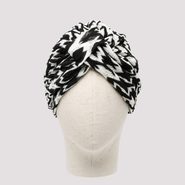 Black and white knotted turban