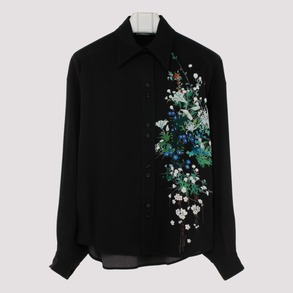Black silk blouse with...