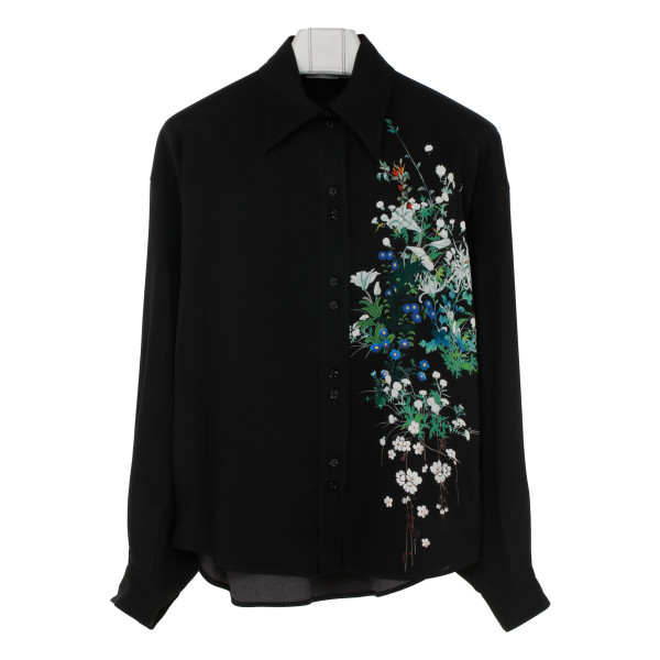 Black silk blouse with floral detail