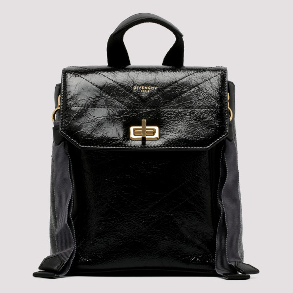 Black cracked leather mini...