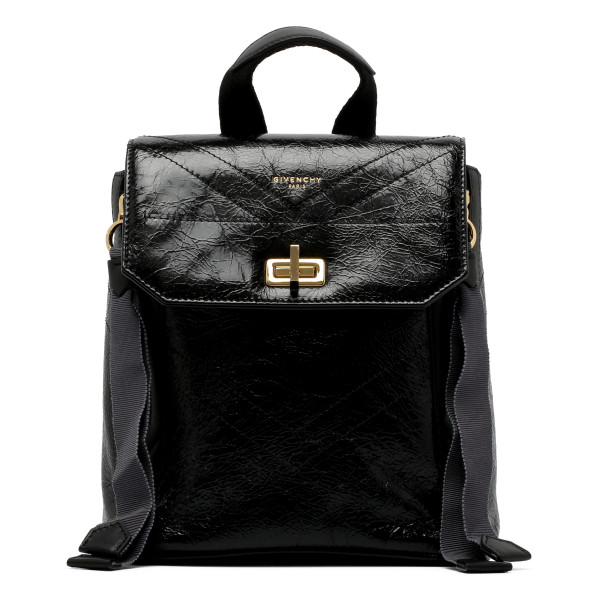 Black cracked leather mini backpack