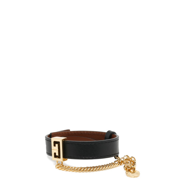 GG black leather bracelet