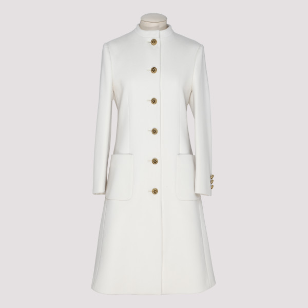 White Wool Coat With Knot...