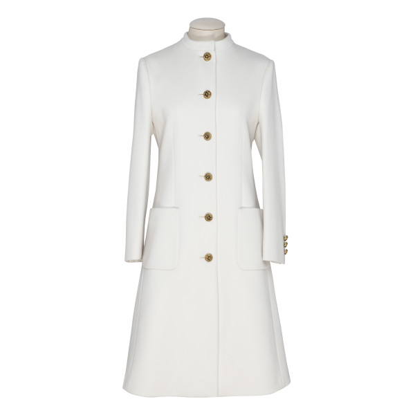 White Wool Coat With Knot Buttons