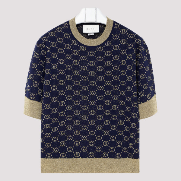 Navy wool top with GG