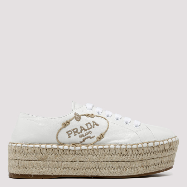 White lace-up platform...