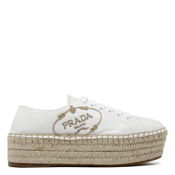 White lace-up platform espadrilles