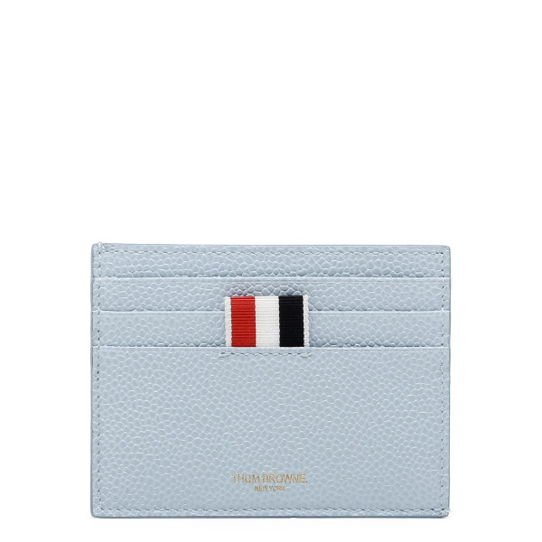 Light blue pebbled leather card-holder