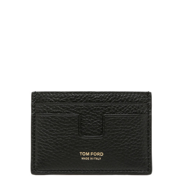 T-line black leather card-holder
