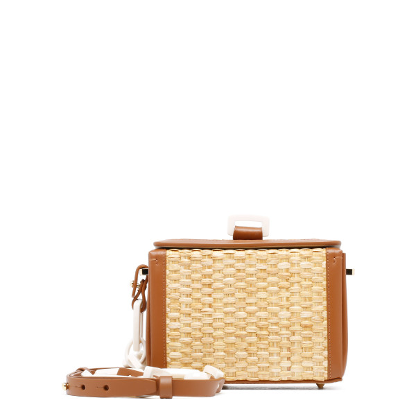 Cerea straw and leather shoulder bag
