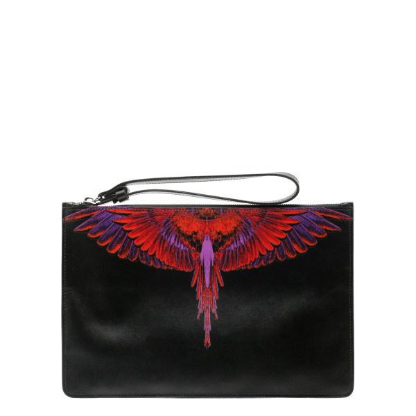 Wings print black pouch