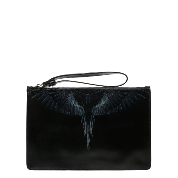 Black wings print pouch