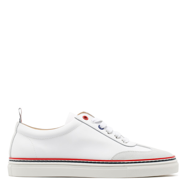 White rubberized leather sneakers