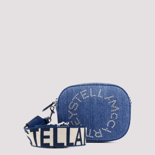 Logo denim camera bag
