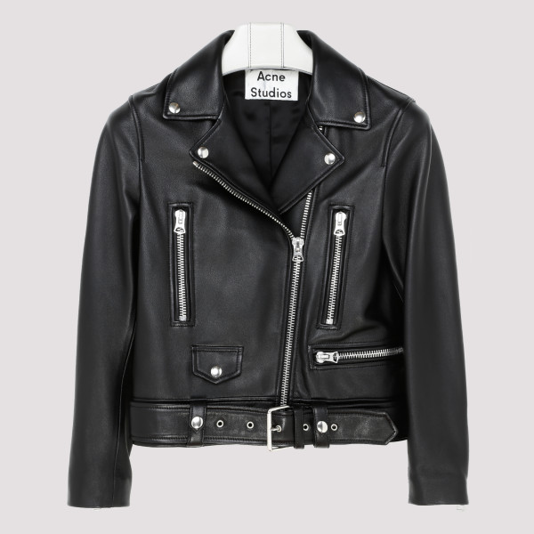 Mock black leather jacket