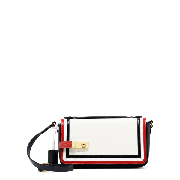 White pebbled flap bag