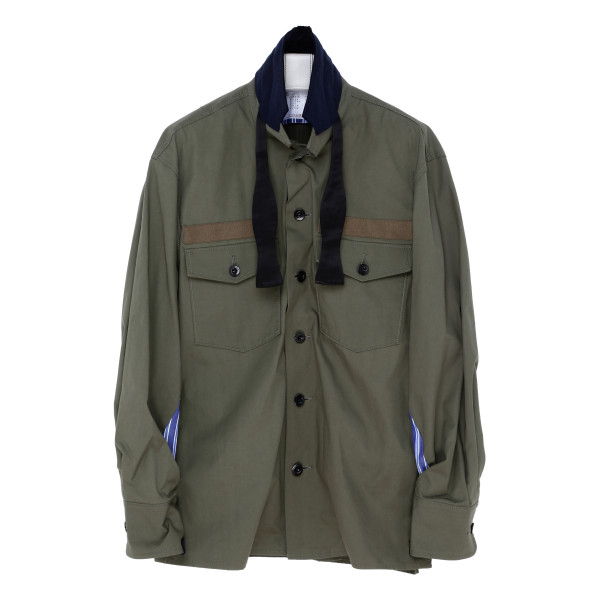 Army green panelled shirt