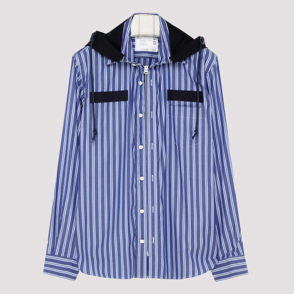 Blue striped hooded shirt