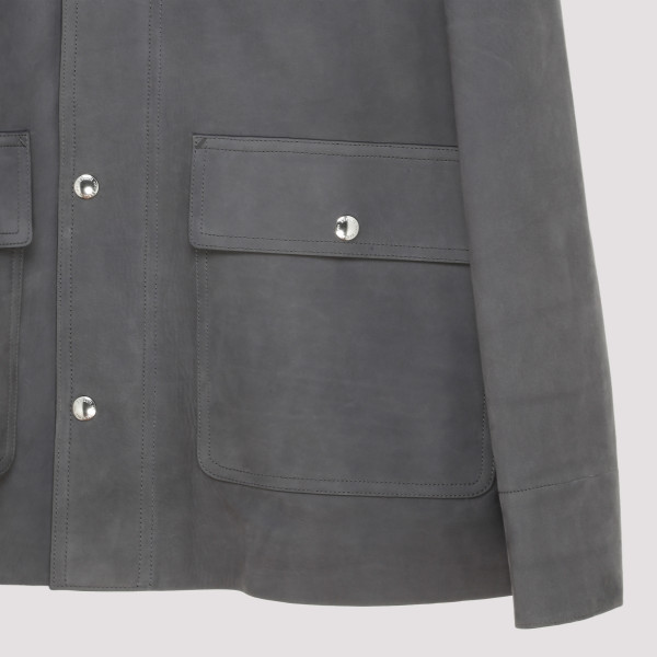Gray suede leather shirt