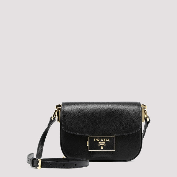 Black Emblème saffiano shoulder bag