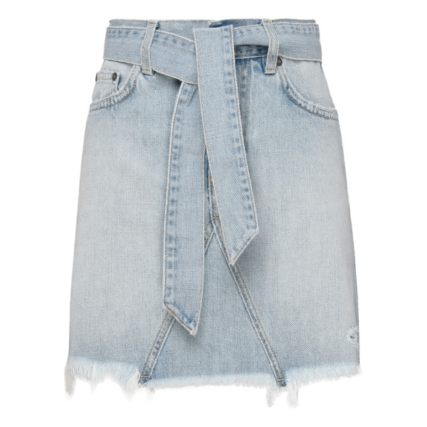 Denim belted mini skirt