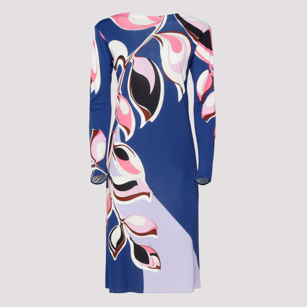 Heliconia print blue dress