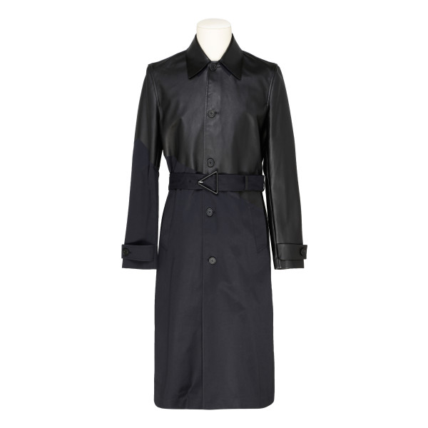Black and midnight blue trench coat