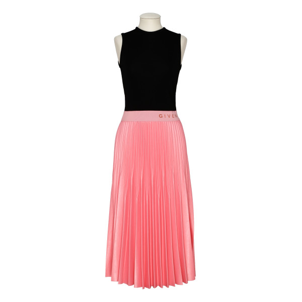 Varnished jersey pleated dress