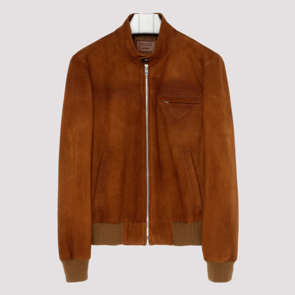 Tan suede leather bomber...