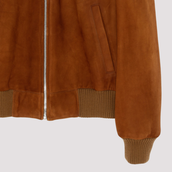 Tan suede leather bomber jacket