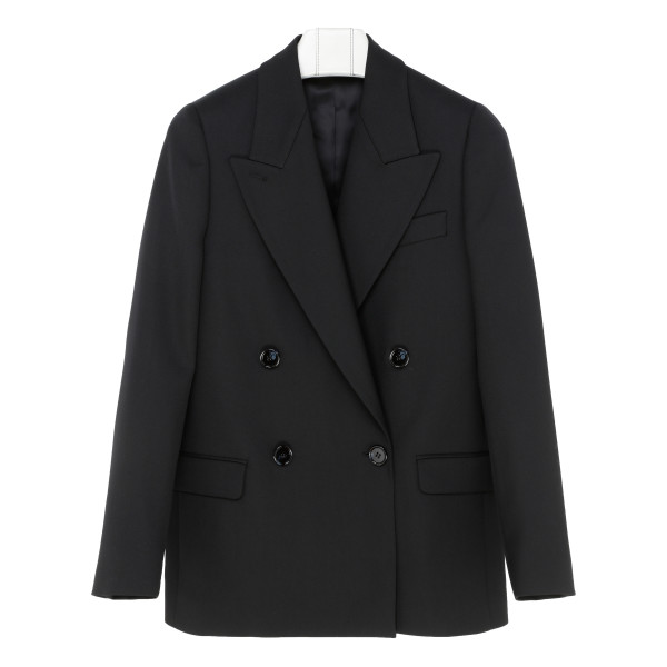 Black double-breasted suit jacket