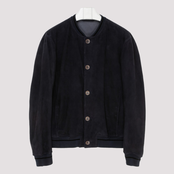 Blue suede buttoned jacket
