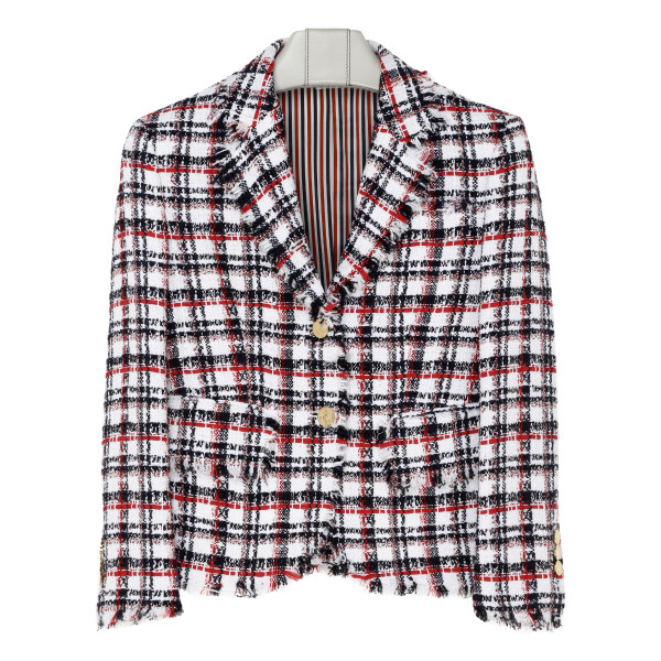 RWB ribbon tweed classic plaid frayed little boy jacket